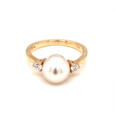 8mm cultured pearl ring with round diamond on each side of pearl, diamonds totaling .14ct, GH Color SI2 Clarity, 14k yellow gold