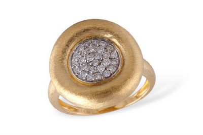 Contemporary Style thick Domed border ring with a stone finish in rich golden color of 14k yellow gold. The center round cluster of pave set diamonds totals n  .24 carat with a bright white G Color grade and a brilliant SI1 Clarity grade. The center diamond cluster is set in 14k white gold.