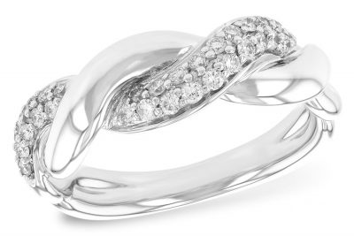 Braided style ring with double row of pave set diamonds in one braid all totaling .30 carat G Color, SI2/SI2 Clarity, 14k white gold Also available in 14k yellow with white gold as a special order.
