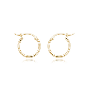 14k Yellow Gold Extra Small 1.5mm Tube Hoop Earrings on Hinge-12.4mm Outter Diameter