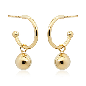 Small 3/4 hoop earrings 1.5x12mm with 5mm ball drop dangle, 14k yellow gold, on posts