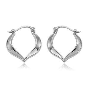 14k White Gold Hoop Earrings with Point On Bottom of Earrings