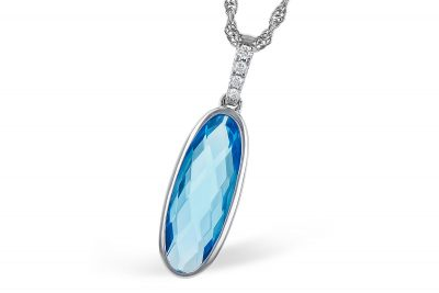Oblong 1.90ct oval blue topaz pendant Bezel Set below diamond lined bale, all round diamonds totaling .03ct, GH SI2 on 14k white gold chain with lobster clasp, 18 inches