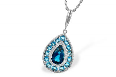 Teardrop pendant with bezel set London Blue Topaz in the center surrunded by round accenting diamonds with round swiss blue topaz surrounding the outside, 14k white gold on 18 inch rope chain with lobster clasp