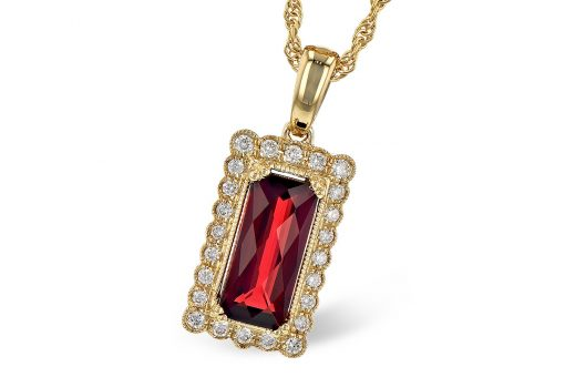 Rectangular vintage style pendant with 1.80ct Mozambique garnet in the center surrounded by bezel set .15ct of round G color SI1/SI2 diamonds with milgrain edging, 14k yellow gold, 18 inch rope chain with lobster clasp