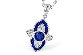 Vintage style sapphire and diamond pendant with round accenting sapphires and 4.7mm center round sapphire all totaling .63ct, accenting diamonds totaling .07ct 14k white gold, milgrain edging, 18 inch 14k white gold rope chain
