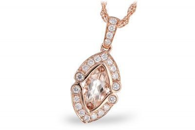 .46ct Marquise shape morganite pendant with round accenting diamonds surrounding the center totaling .16ct, 14k rose gold 18 inch rope chain with lobster clasp