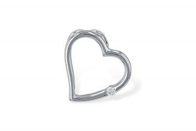 14k white gold open heart pendant with single .04ct diamond set into the side of the heart, GH Color SI2 Clarity on 18 inch cable chain with spring ring clasp