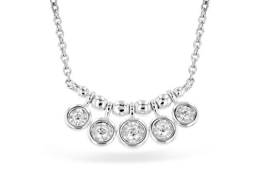 Station curved center necklace with 5 round drops with accenting diamonds in each one all totaling .09ct, GH SI2, 14k white gold, 18 inch cable chain with trigger clasp