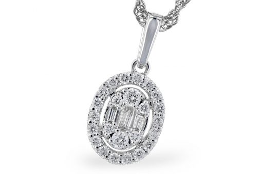 Oval Diamond pendant with 3 baguette diamonds totaling .03ct in the center and round accenting diamonds set throughout rest of oval totaling .15ct, .18ctw, 18 inches, 14k white gold