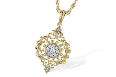 Vintage style pendant with ornate design, round with pointe at top and bottom, round accenting diamonds all totaling .18ct, G Color SI3 Clarity, 18 inch yellow gold rope chain with lobster clasp, 14k two tone pendant