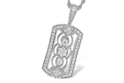 Vintage style rectangular pendant with round accenting diamonds all totaling .33ct, GH Color, SI2 clarity, 18 inch rope chain with lobster clasp, 14k whitew gold