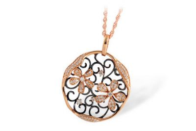 Open Circle pendant with swirls and diamond flowers in the center, all diamonds totaling .33ct, 18 inch chain with lobster clasp, 14k rose gold