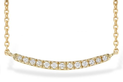 Curved bar station necklace with .10ct round accenting diamonds set into curve in the center all G Color SI3 Clarity, 14k yellow gold, 18 inch rope chain with lobster clasp