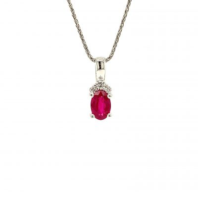 6x4mm Oval Ruby Pendant with 3 round accenting diamonds above totaling .05ct, GH Color, SI2 Clarity on 18 inch diamond cut rope chain with lobster clasp