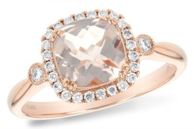 Cushion Morganite ring with 1.10ct Morganite surrounded by halo of round accenting diamonds and one round diamond at top of shank all totaling .16ct Si1/Si2 with milgrain edging, 14k rose gold