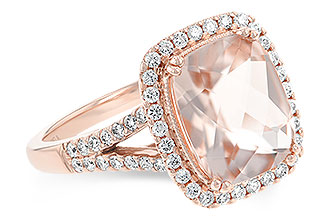 Cushion 2.35ct Morganite ring with round accenting diamonds surrounding the center stone and down the split band, diamonds all totaling .35ct, 14k rose gold