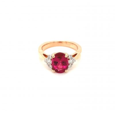 Oval 2.08ct Rbuellite ring with round accenting diamonds on each side totaling .26ct GH Color SI2 Clarity, 14k rose gold