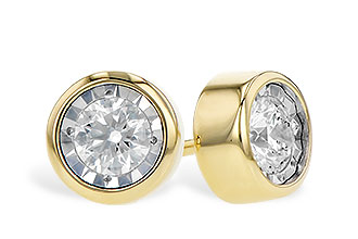 Bezel style earrings with 14k yellow gold bezel, diamonds set into 14k white gold center, diamonds totaling .48ct, G Color SI3 clarity