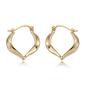 14k yellow gold Hoops with Point at Bottom