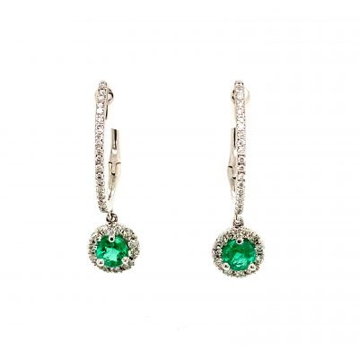 4.25mm Round Emerald Earrings with halo of diamonds surrounding the emerald that dangles of diamond lined hoops, all diamonds totaling .33ct, GH SI2, 14k white gold