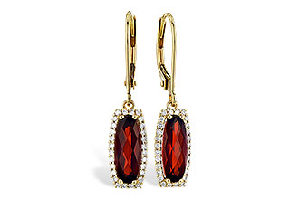 Elongated cushion garnet drop earrings with round accenting diamonds surrounding the garnets, diamonds totaling .18ct, 14k yellow gold