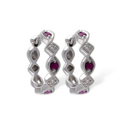 14k White Gold Diamond & Ruby Hoop Earrings with .20ct Rubies and .05ct Diamonds set every other stone GH SI1