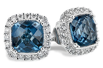 Cushion shape london blue topaz earrings surruonded by round accenting diamonds, diamonds totaling .26ct , 14k white gold