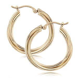Triple Twisted Tube Hoops all 14k yellow gold