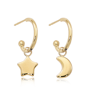 Small open hoop earrings with moon and star dangle, 14k yellow gold