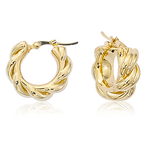 Medium knotted hoop earrings, 14k yellow gold with hinged post
