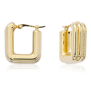 Small lined square hoop earrings with hinged post, 14k yellow gold