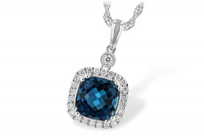 Cushion London Blue Topaz Pendant surrounded by round accenting diamonds all totaling .17ct, 18 inch white gold chain