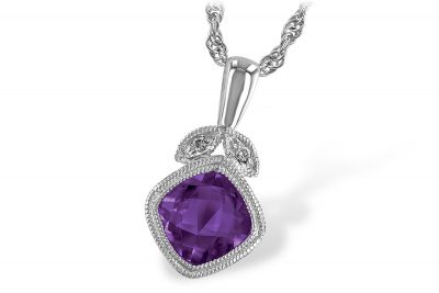 14k White Gold Pendant with Cushion Checkerboard cut .80ct Amethyst bezel set with milgrain edging and two round diamonds in leaf design totaling .01ct above on 18 inch light rope chain