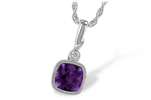 14k White Gold pendant with square cushion cute Amethyst bezel set below curl of white gold with round accenting .02ct Diamond on 18 inch light rope chain