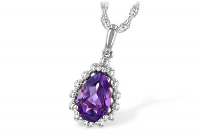 Pear Shape 1.06ct Amethyst Pendant with beaded 14k white gold border on 18 inch 14k rose gold chain