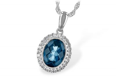 Oval 1.28ct London Blue Topaz pendant surrounded by 26 round accenting diamonds totaling .13ct, GH SI2 on 18 inch 14k white gold rope chain with lobster clasp