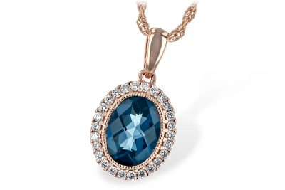 Oval 1.28ct London Blue Topaz pendant surrounded by 26 round accenting diamonds totaling .13ct, GH SI2, all 14k rose gold on 18 inch 14k rose gold chain with lobster clasp