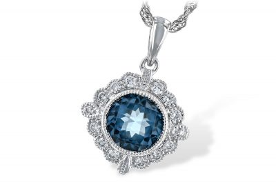 Round 1.10ct round checkerboard cut london blue topaz set in center of bezel set vintage style pendant, .12ct round accenting diamonds surrounding center, 18 inch rope chain with lobster clasp, 14k white gold