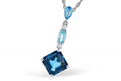 Elongated linear pendant with Square London Blue topaz below oval sky blue topaz and pear shape swiss blue topaz at top each separated by round diamond, diamonds totaling .05ct on 18 inch 14k white gold rope chain with lobster clasp