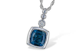 Cushion bezel set London Blue Topaz with round accenting bezel set diamond above, 1.50ct Blue topaz, .04ct Diamond, GH SI2, 14k white gold 18 inch rope chain with lobster clasp