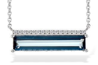 Elongated Emerald Cut London Blue Topaz set horizontally on chain with round accenting diamonds lining the top, all diamonds GH SI2 and totaling .10ct, 18 inches, claspable at 16 inches, 14k white gold