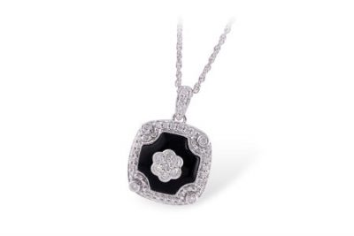 Vintage style necklace with black onyx and round accenting diamonds set into cushion shape, all diamonds totaling .32ct, H Color SI3 Clarity, 18 inch chain, 14k white gold