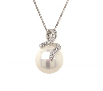 Button Pearl pendant with curve of diamonds in front and up the bale, diamonds totaling 0.06ct GH SI2, 14k White Gold on 18 inch diamond cut wheat chain with lobster clasp