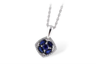 Pendant with Round and marquise blue sapphires all totaling .82ct set into cushion shape and lined with round accenting H color SI3 clarity diamonds all totaling .13ct on 18 inch chain white lobster clasp, 14k white gold