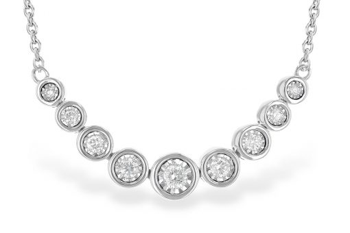 9 Bezel style Diamonds stationed in the center of 14k white gold cable chain necklace 18 inch with lobster clasp, .25ct G Color SI3 clarity 14k white gold