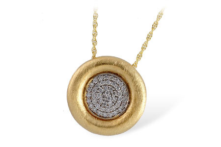 Circle pendant with pave set diamonds in the center, puff of 14k yellow round surrounding diamonds, 14k yellow gold with white gold accents, 18 inches