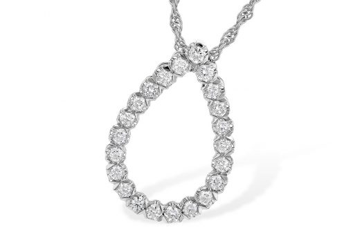Open teardrop pendant lined with round accenting diamonds all totaling .50ct, GH SI2, 14k white gold, 18 inch rope chain with lobster clasp