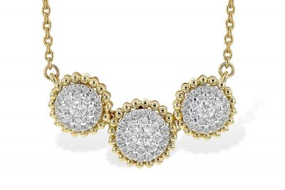Triple circle diamond cluster necklace with .50ct accenting pave set diamonds in center of 18 inch cable chain, 14k yellow gold with white gold accents