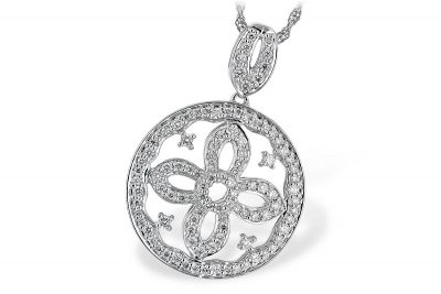 Circle pendant lined with round accenting diamonds and flower design in the center, all diamonds totaling .55ct G Color SI3 Clarity, 14k white gold 18 inches